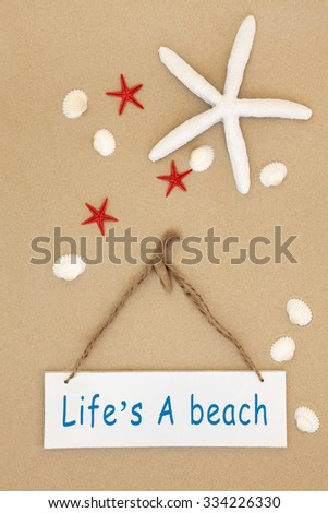 Lifes a beach sign with starfish and cockle shells on sand background. - stock photo
