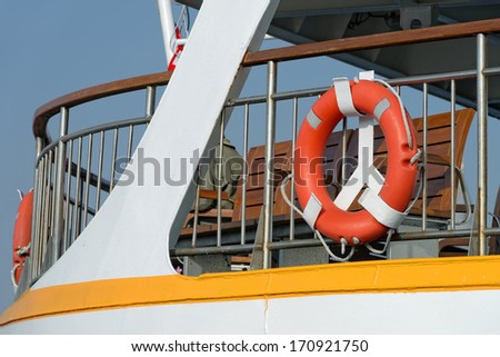Lifesaver detail from a passenger ferry in Istanbul, TURKEY - stock photo