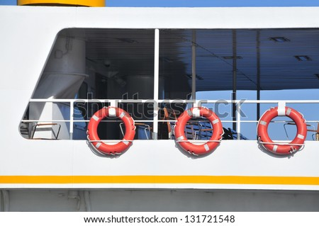 Lifesavers detail from a passenger ferry in Istanbul, TURKEY - stock photo