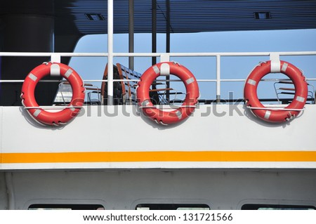 Lifesavers detail from a passenger ferry in Istanbul, TURKEY
