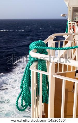 Lifestring on cruise ship at Aegean sea - stock photo