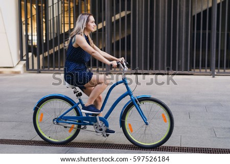 Portrait Pretty Young Woman On Bicycle Stock Photo ...