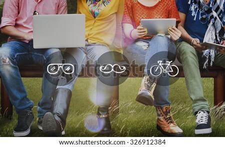 Lifestyle Cool Trend Icon Illustration Concept - stock photo