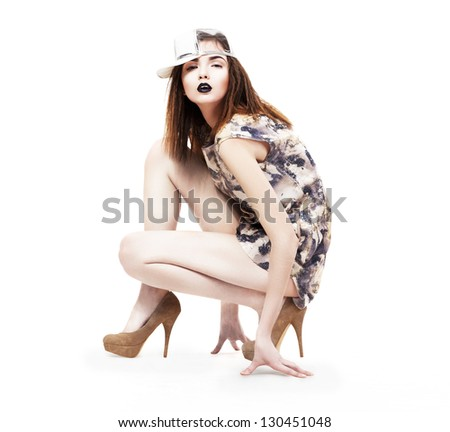 Lifestyle. Glam. Nifty Ultramodern Woman sitting in Heels. Fashion & Glamor - stock photo