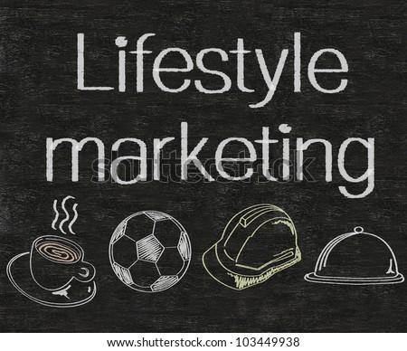 lifestyle marketing written on blackboard background, high resolution, easy to use. - stock photo