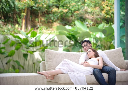 Lifestyle of a romantic asian couple - stock photo