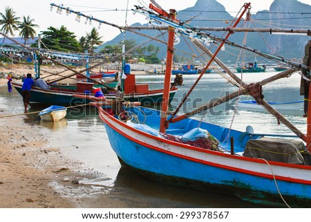 Lifestyle of fisherman local traditional village thailand views