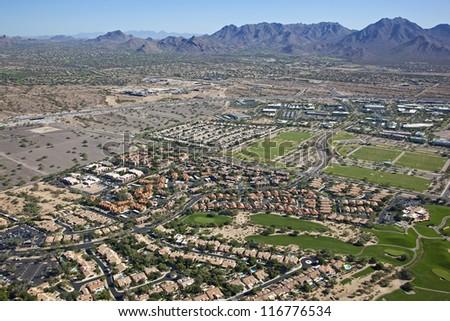 Lifestyle of North Scottsdale, Arizona under sunny skies - stock photo