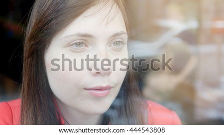 lifestyle portrait of young beautiful caucasian women. attractive female person background - stock photo