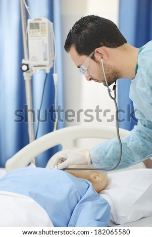 Lifestyle posing people working at modern hospital - stock photo