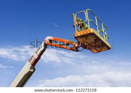 Lift Bucket of cherry picker - stock photo