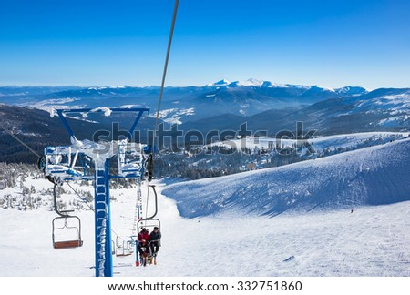 Lift in mountains ski resort in winter - nature and sport picture