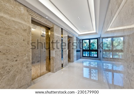 Lift lobby in beautiful marble no people  - stock photo