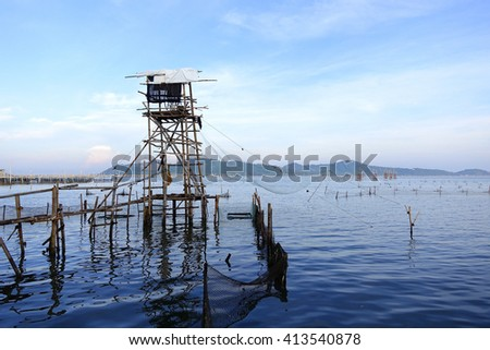 Lift net in Songkhla Lake,Songkhla Thailand:select focus with shallow depth of field.