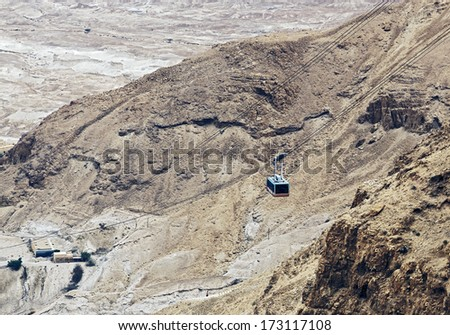 Lift station to the mountain of Masada, Israel