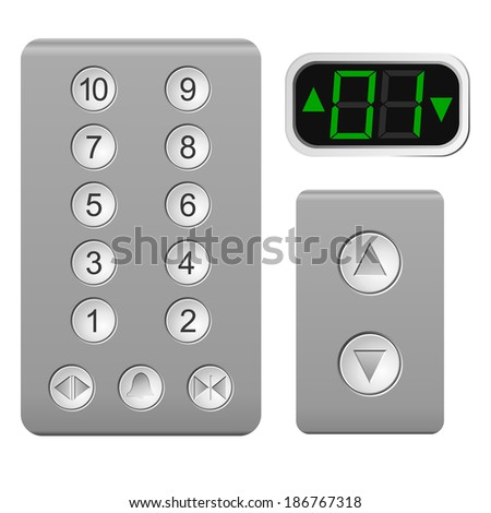 Lift the control panel on a white background - stock photo