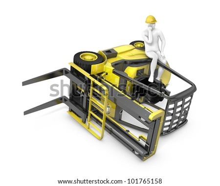 Lift truck flipped on side after falling, isolated on white background - stock photo