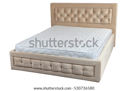 lift up double bed with storage space and orthopedic mattress big size isolated on white