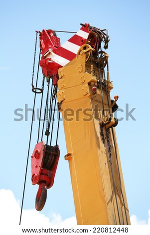 Lifting crane and its hook. - stock photo
