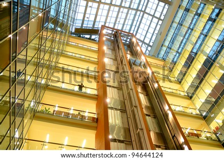 Lifts in a modern building - stock photo