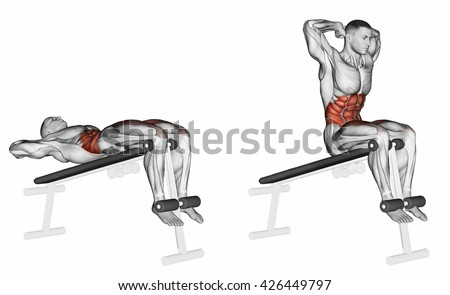 Lifts torso on an incline bench. 3D illustration