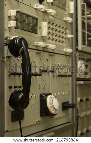 LIGATNE, LATVIA - SEPTEMBER 12: Telegraph station in military soviet bunker on September 12, 2014 in Ligatne, Latvia. - stock photo