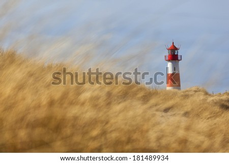 Lighhouse near List on the island of Sylt, Germany - stock photo
