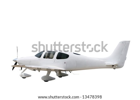 Light airplane isolated on a white background