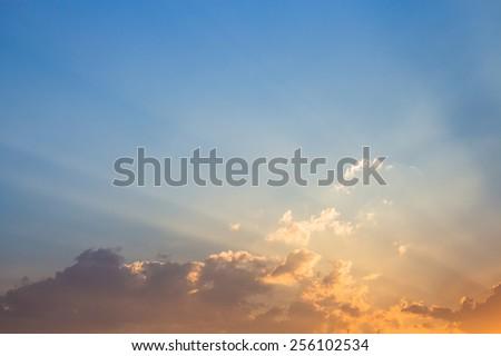 light and cloud evening - stock photo