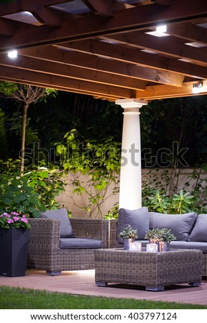 Light and cozy terrace in the garden