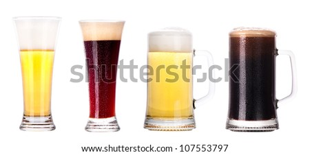 light and dark beer collection isolated on a white background