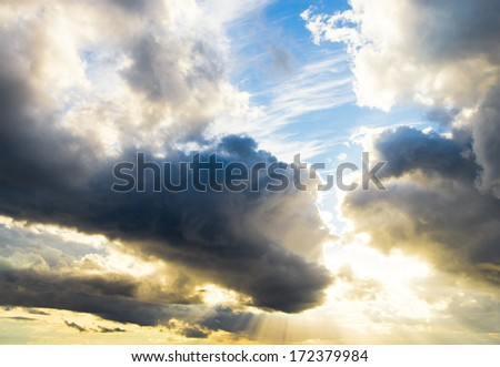 Light and Dark Stormy Skies  - stock photo