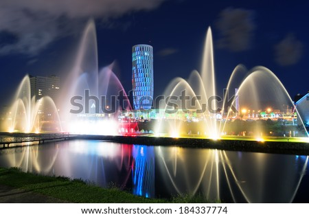 Light and music fountain. Capital of Adjara - Batumi at night.  - stock photo