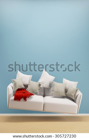 Light and weightless sofa flying in a living room (3D Rendering) - stock photo