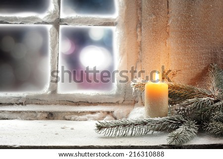 light and window sill  - stock photo