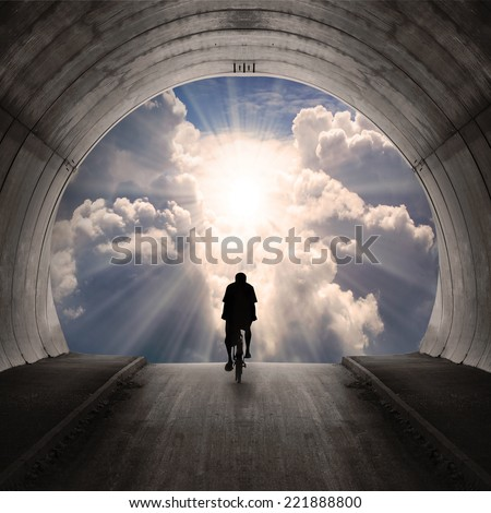 Light at end of the tunnel.  - stock photo