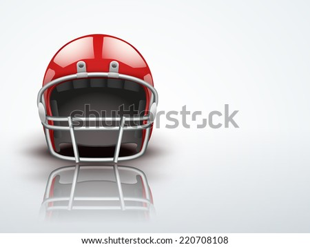 Light Background Realistic American football helmet. Equipment for protection of player.
