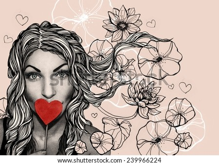Light background with girl, heart and flowers - stock photo
