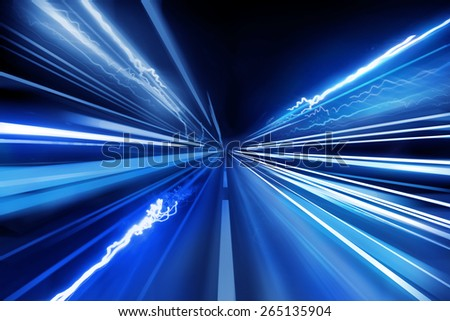 Light beams, super fast light trails. - stock photo