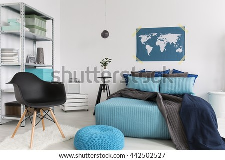 Light bedroom with blue bedding and pouffe  new  simple furniture. Pouffe Stock Images  Royalty Free Images   Vectors   Shutterstock