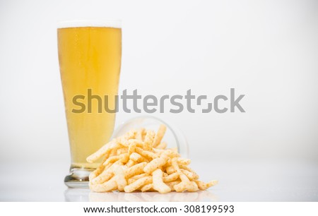 Light Beer With Snacks on a white background