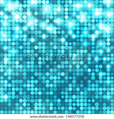 Light blue abstract sparkling disco background with circles - stock photo