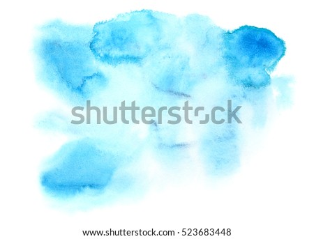 Light blue abstract watercolor stain on paper isolated over the white background
