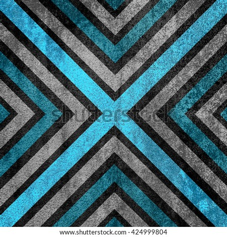 Light Blue and black abstract old background texture with X pattern. - stock photo