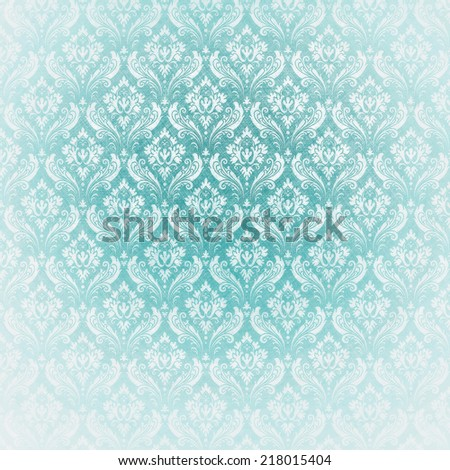 light blue antique wallpaper. baroque style. - stock photo