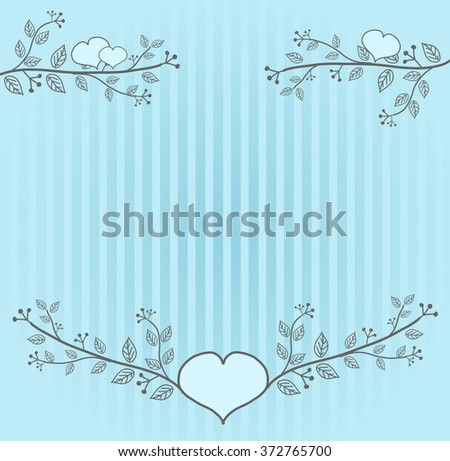 Light blue background decorated with folk ornaments - stock photo
