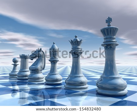 Light blue background with chess and sky render illustration - stock photo