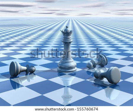 Light blue background with chess board and sky with chess beated pawns and queen - stock photo