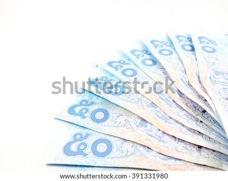 Light blue banknotes, money, value 50 of a bill, thai number, isolated on white background - stock photo