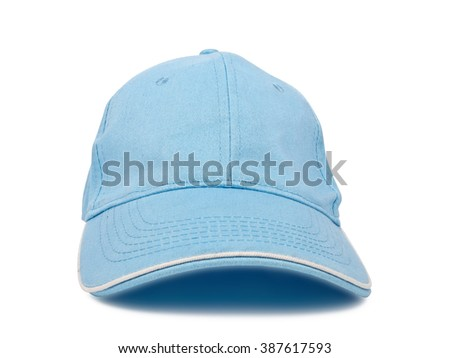 light blue baseball cap isolated on white background, studio shot